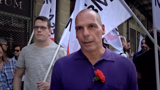 greek ex-finance minister yanis varoufakis and his wife danae stratou, join the may day rally in athens and march with supporters of his newly... - social history stock videos & royalty-free footage