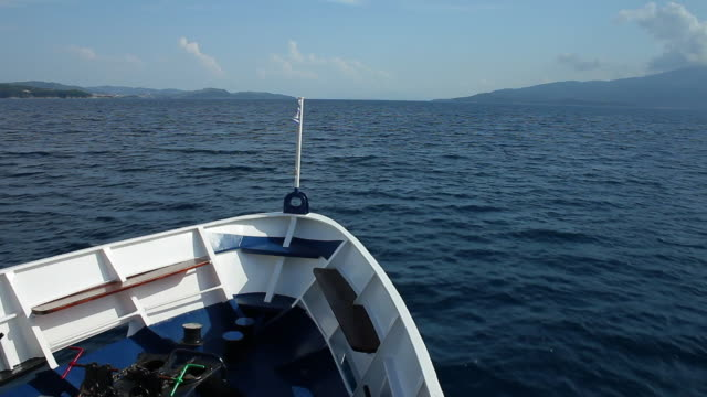 Greek ferry boat sailing in the Ionian Sea