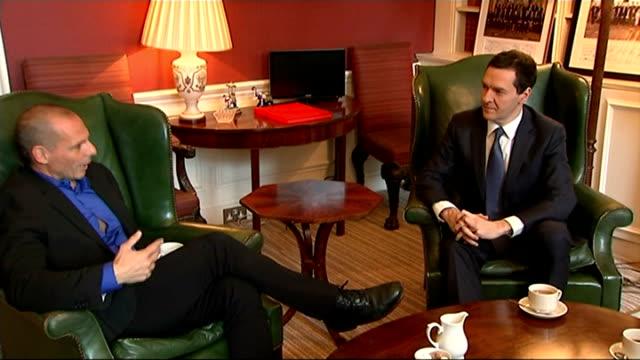 Greek Finance Minister Yanis Varoufakis meets George Osborne INT George Osborne sitting and chatting with Varoufakis Osborne listening Yanis...