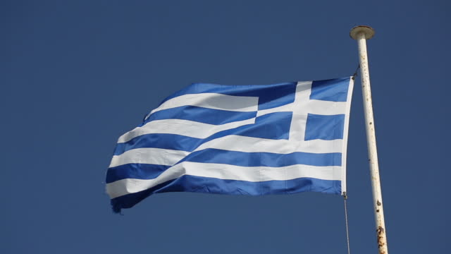 greek flag flying in the wind - greek flag stock videos & royalty-free footage