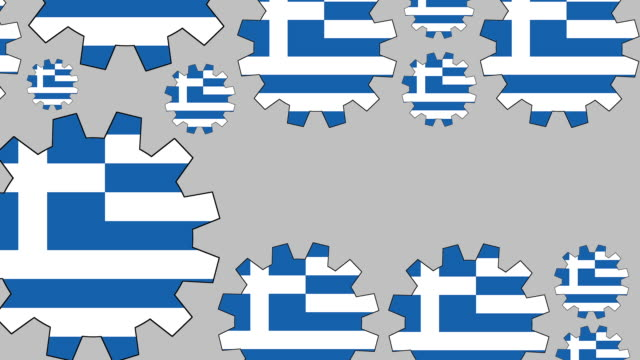 greek flag gears shaping euro symbol - greek flag stock videos & royalty-free footage