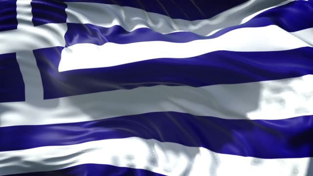 griechische flagge weht langsam in vollbild 4k-auflösung - griechische flagge stock-videos und b-roll-filmmaterial