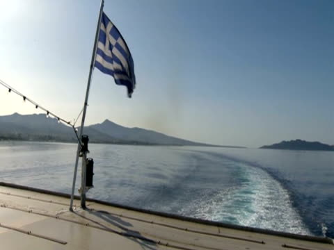 greek flag on a boat flaps in the wind - greek flag stock videos & royalty-free footage