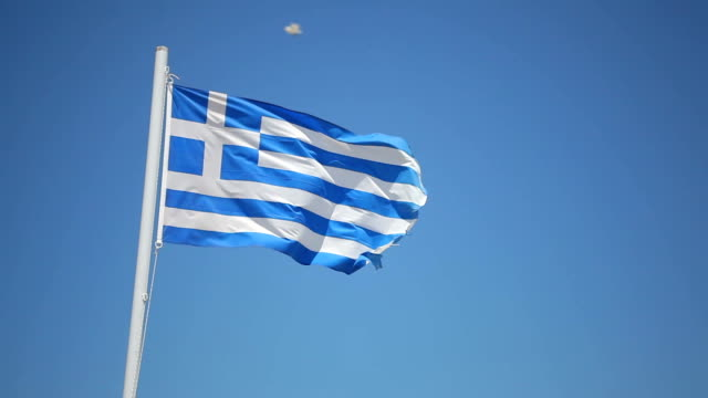greek flag pole blowing in the wind - greek flag stock videos & royalty-free footage