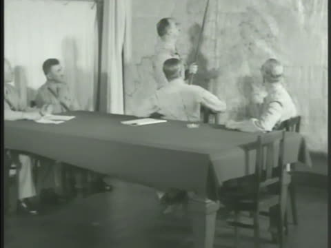 vidéos et rushes de greek generals & officers pointing to map in meeting. officer talking. general talking, pointing to map w/ stick. athens, greece, cold war - athens greece