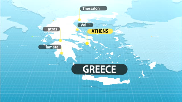 vídeos de stock e filmes b-roll de greek map - greece