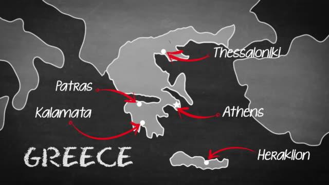 griechische karte - griechenland stock-videos und b-roll-filmmaterial