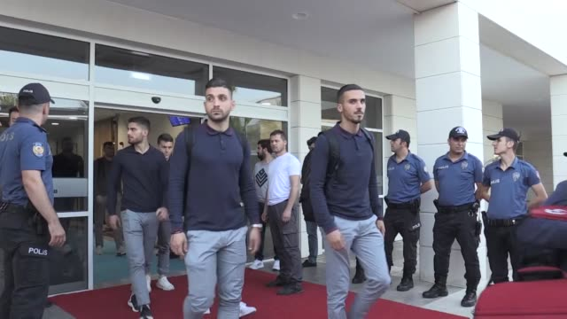 greek national football team head coach angelos anastasiadis and his players arrive in antalya on may 29 2019 on the eve of an international friendly... - senol guenes stock videos and b-roll footage