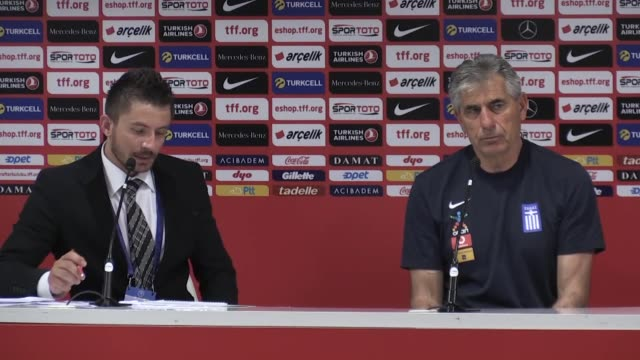 greek national football team head coach angelos anastasiadis holds a press conference following an international friendly match against turkey on may... - mediterranean turkey stock videos and b-roll footage