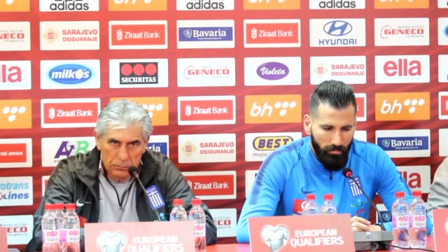 Greek national football team's head coach Angelos Anastasiadis and his player Dimitris Siovas attend a press conference on the eve of the UEFA Euro...