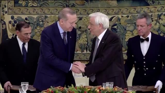 Greek President Prokopis Pavlopoulos and his Vlassia PavlopoulouPeltsemi host a dinner in honor of Turkish President Recep Tayyip Erdogan and First...