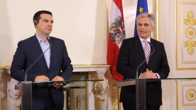 greek prime minister alexis tsipras and austrian chancellor werner faymann hold a joint press conference after their meeting in vienna austria on 9... - österreichische kultur stock-videos und b-roll-filmmaterial