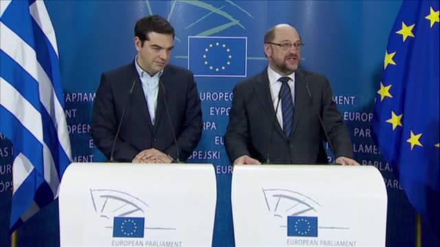 greek prime minister alexis tsipras and european parliament president martin schulz hold a joint press conference after their meeting at the european... - europäische kommission stock-videos und b-roll-filmmaterial