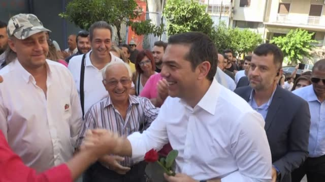 Greek Prime Minister Alexis Tsipras casts his ballot in the country's first national election of the post bailout era