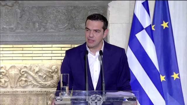 Greek Prime Minister Alexis Tsipras speaks at a joint press conference with Turkish President Recep Tayyip Erdogan following their meeting in Athens...