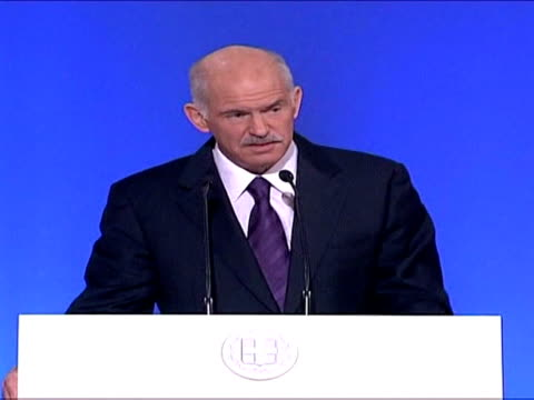 greek prime minister george papandreou has vowed to bring the country's public deficit in line with eurozone requirements by 2013 amid the worst debt... - grecia stato video stock e b–roll