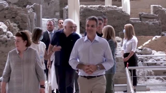 greek prime minister kyriakos mitsotakis visits the island of santorini's archaeological site of akrotiri a bronze age settlement ahead of the... - santorini stock videos & royalty-free footage