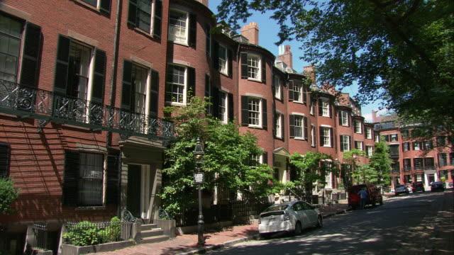 WS Greek Revival style houses at Louisberg Square, Beacon Hill residential area / Boston, Massachusetts, USA