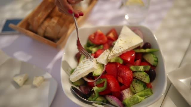 greek salad - feta stock videos & royalty-free footage