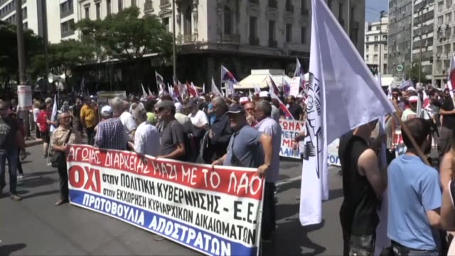 greek trade unions gather in athens ahead of a rally to protest a new round of austerity reforms linked to the country's concluding third bailout - grecia stato video stock e b–roll