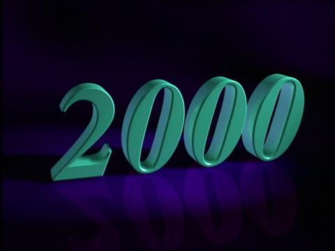CGI green 2000 sign on purple background rotating