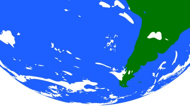 vídeos de stock e filmes b-roll de green and blue globe with clouds - design plano