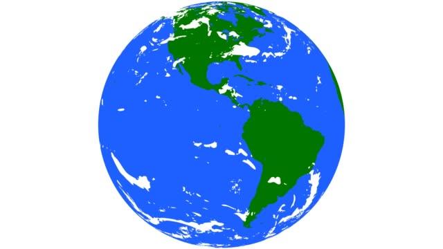 Gröna och blå världen med moln