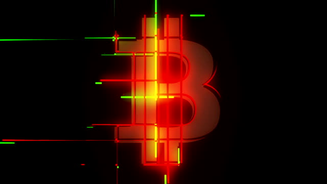 Green and red bitcoin sign going up and down loop abstract background