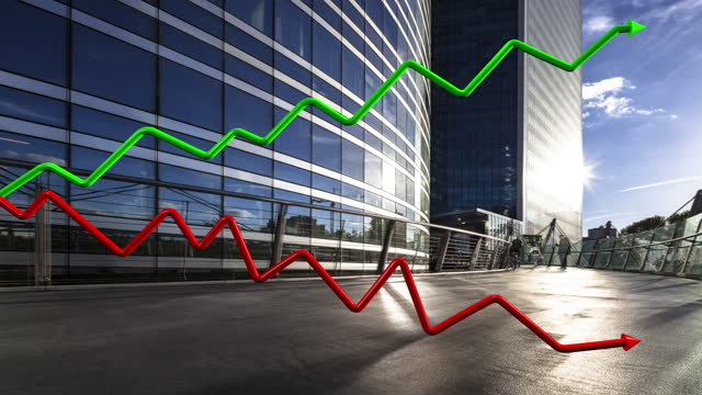 3d dgi green and red curves in k design with corporate buildings in background - arrow symbol stock videos & royalty-free footage