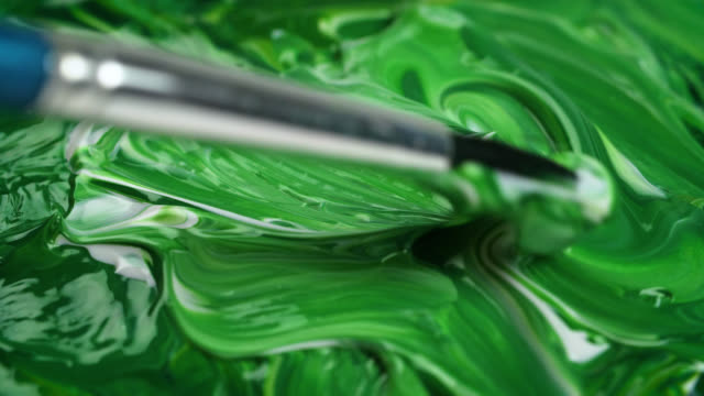 cu green and white acrylic paints mixed together - paintings stock videos & royalty-free footage