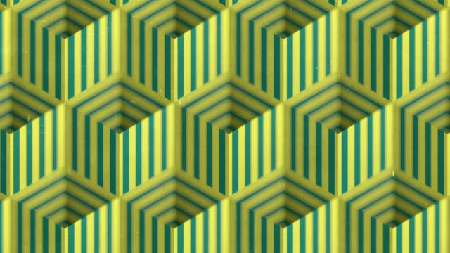 green and yellow colored open striped boxes seamless loop animation background on old scratched surface. 3d rendering. hd resolution - optical illusion stock videos & royalty-free footage