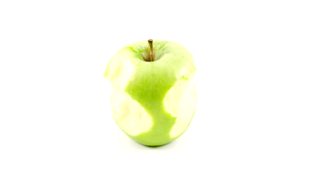 green apple eaten stop motion animation - chewing stock videos & royalty-free footage