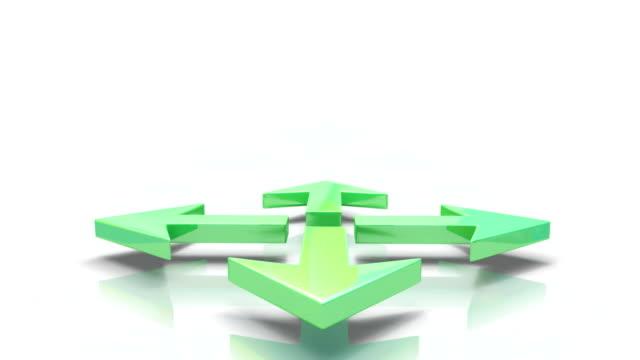 vídeos de stock e filmes b-roll de setas verde - quatro objetos