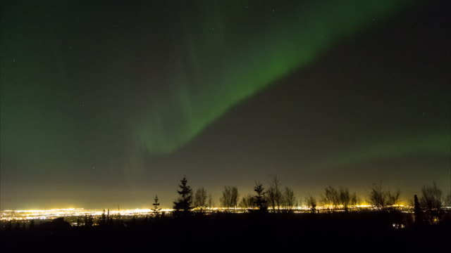 green aurora borealis over anchorage, alaska - anchorage alaska stock videos & royalty-free footage