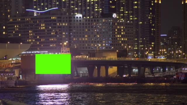 Green billboard in Hongkong city at night