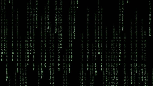 green binary code falling on black background - binary code stock videos & royalty-free footage