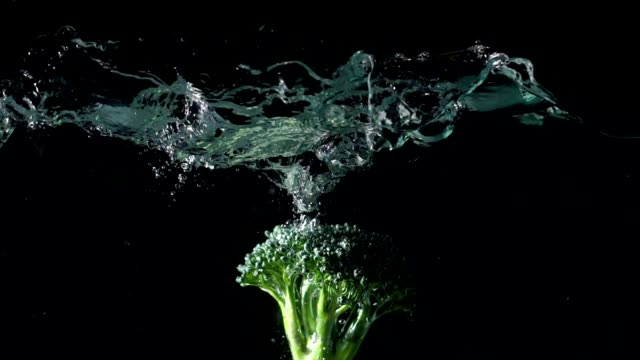 green broccoli falling in water - broccoli stock videos & royalty-free footage