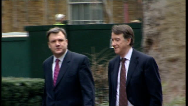 green campaigners buy land on site of heathrow airport's proposed third runway london downing street lord mandelson along next ed balls mp hilary... - downing street stock-videos und b-roll-filmmaterial