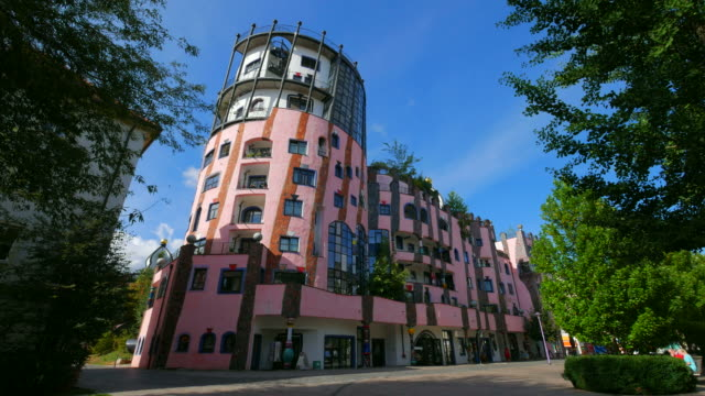 green citadel by friedensreich hundertwasser in magdeburg, saxony-anhalt, germany - german culture stock videos & royalty-free footage
