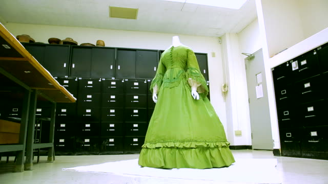 a green colored silk afternoon dress from the 1860s, usa - silk stock videos & royalty-free footage