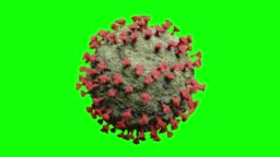 Green COVID-19 Coronavirus Molecule with Red Protein Spikes - 3D Model On Green Screen