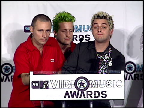 green day at the 1998 mtv video music awards press room at universal amphitheatre in universal city, california on september 10, 1998. - performance group stock videos & royalty-free footage