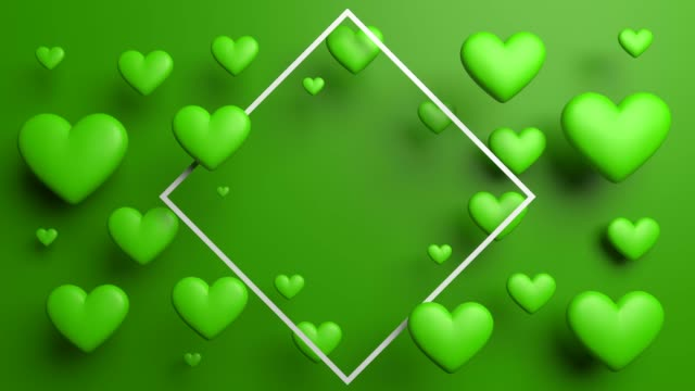green dinamic looped hearts with frame - retro poster stock videos & royalty-free footage