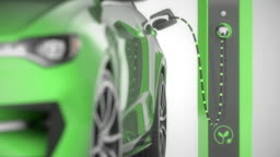 Green  electric self driving car charging. Close front pan with focus shift. 4K