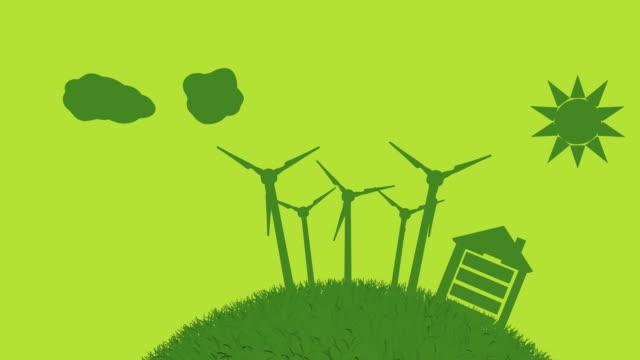 vidéos et rushes de concept de l'énergie verte monde (bouclables - production d'énergie