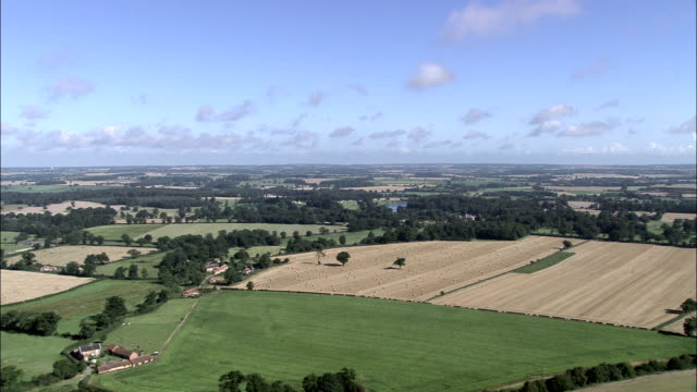 green english countryside - aerial view - england, norfolk, broadland, united kingdom - norfolk england stock videos & royalty-free footage
