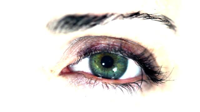 Grünes Auge auf weißem Hintergrund. HD NTSC, PAL