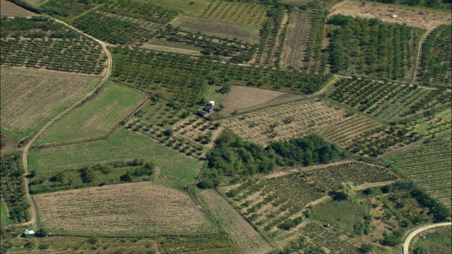 aerial, green fields near st etienne, rhone-alpes, france - rhone alpes stock videos & royalty-free footage