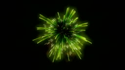 Green fireworks holiday background, Luma Matte attached