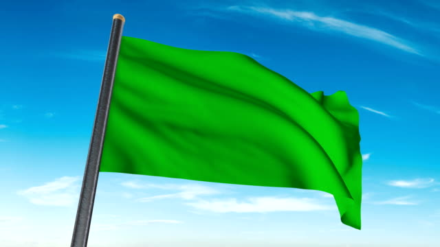 green flag waving. luma matte provided so you can put your own background. - flag stock videos & royalty-free footage